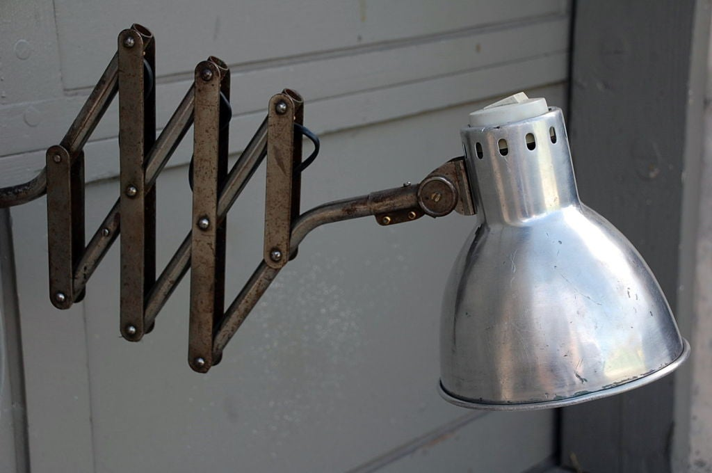 French Industrial Wall Lights : Polished steel French industrial extentable sconce at 1stdibs