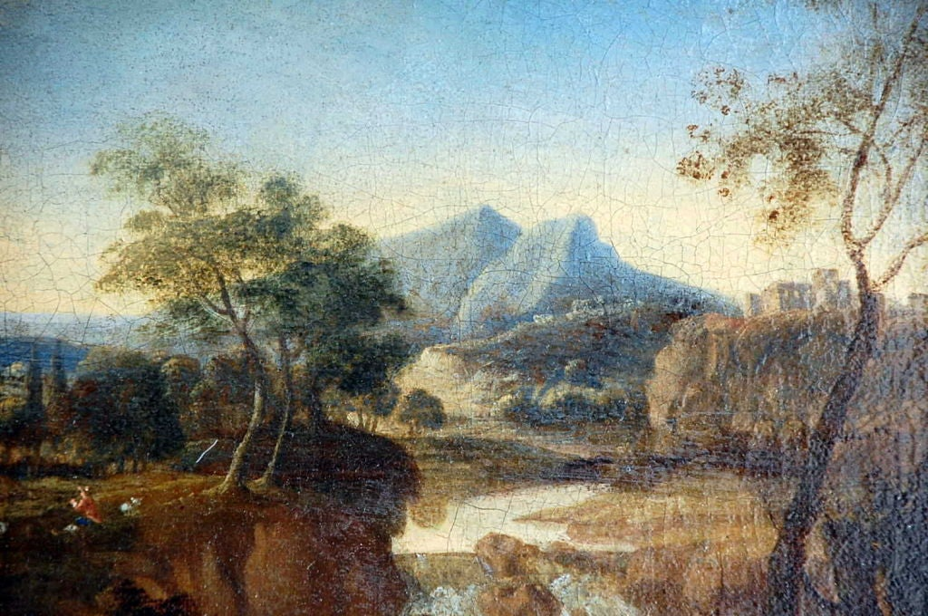 Early 17th Century French Landscape Painting For Sale At