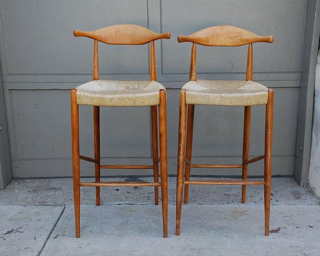 Pair of tall wishbone bar stools
