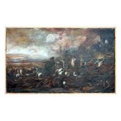 "Decorative French 17th century ""choc de cavalerie"" painting"