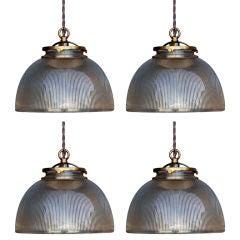Set of 4 gilt pressed glass small hanging lights