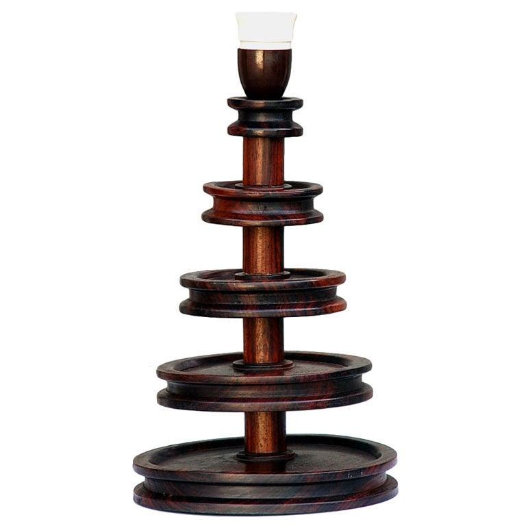 unusual turned wood table desk lamp at 1stdibs