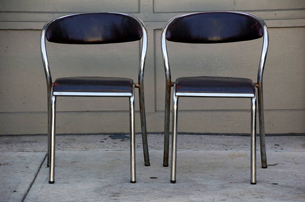 Set Of 6 Comfortable French Modernist Chairs For Sale At