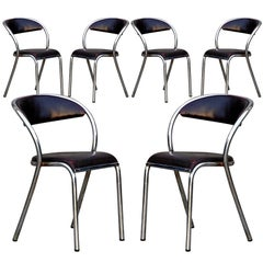 Set of 6 comfortable French modernist chairs