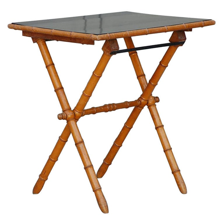 Elegant Bamboo And Brown Lacquer Folding Side Table At 1stdibs
