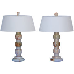 Pair of Art Deco onyx table lamps with custom shades