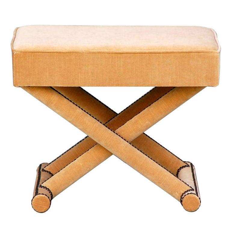 Chic Velvet Upholstered Neoclassical Stool At 1stdibs