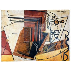 Cubist mixed media oil painting by Robert Wilson