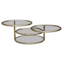 Articulated brass 70's coffee table