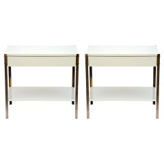 Pair of Minimalist Ivory Lacquer and Brass Nightstands