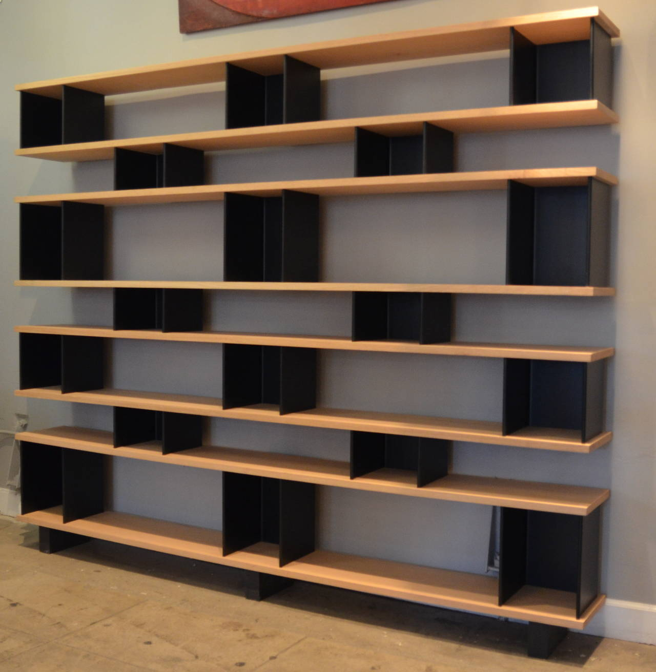 Modern Large Horizontale White Oak And Black Steel Shelving Unit By Design Frères For