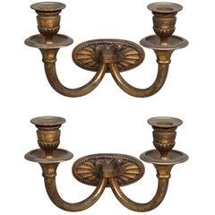 Pair of Small Gilt Bronze Art Deco Sconces