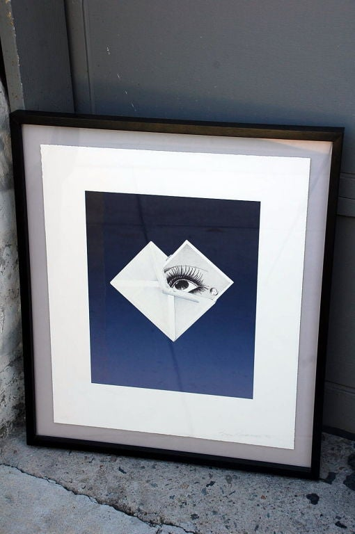 Surrealist framed print by Bruce Richards (American, born 1948):