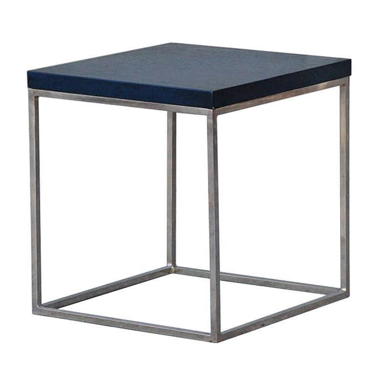 Blue Crackled Lacquer And Stainless Steel Cube Side Table