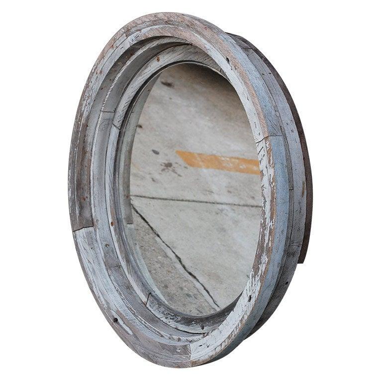 Weathered Round Wood Mirror At 1stdibs