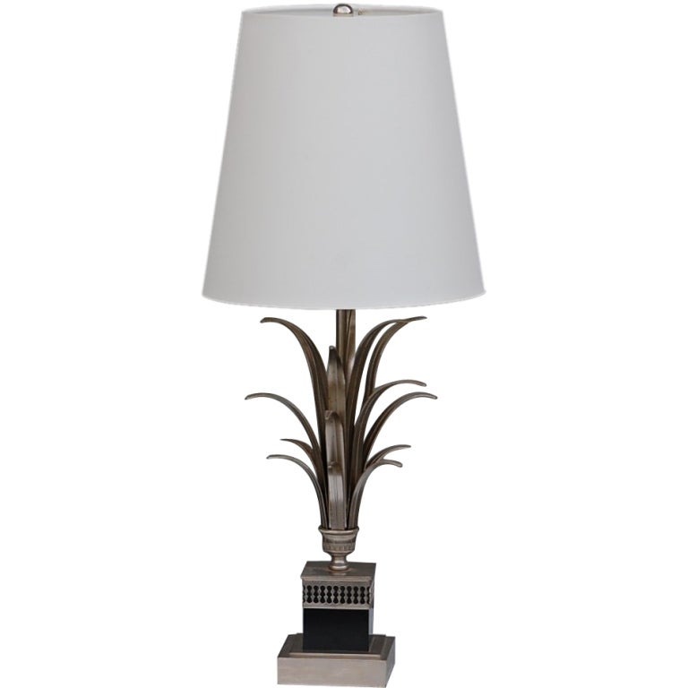 Elegant silver and black french table lamp at 1stdibs for Black and silver lamps