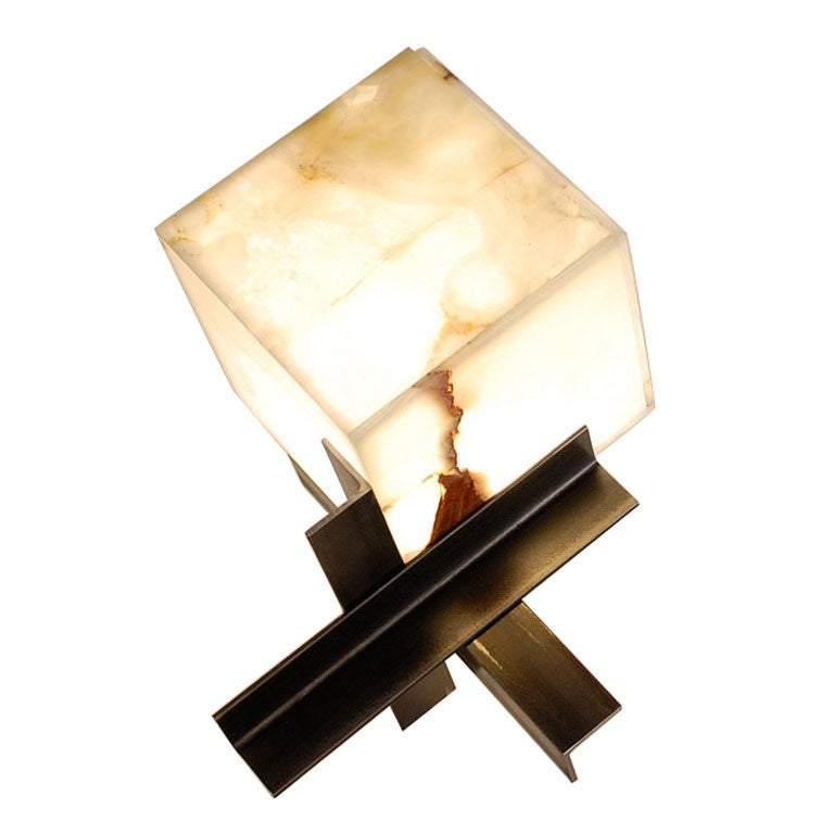 'Cubyx' Sculptural Onyx and Blackened Steel Lamp