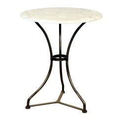 French industrial cafe table with marble top
