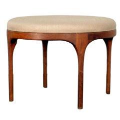 Mid-century round teak ottoman / coffee table