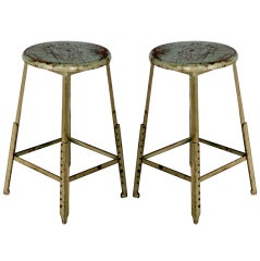 Pair of industrial adjustable bar stools