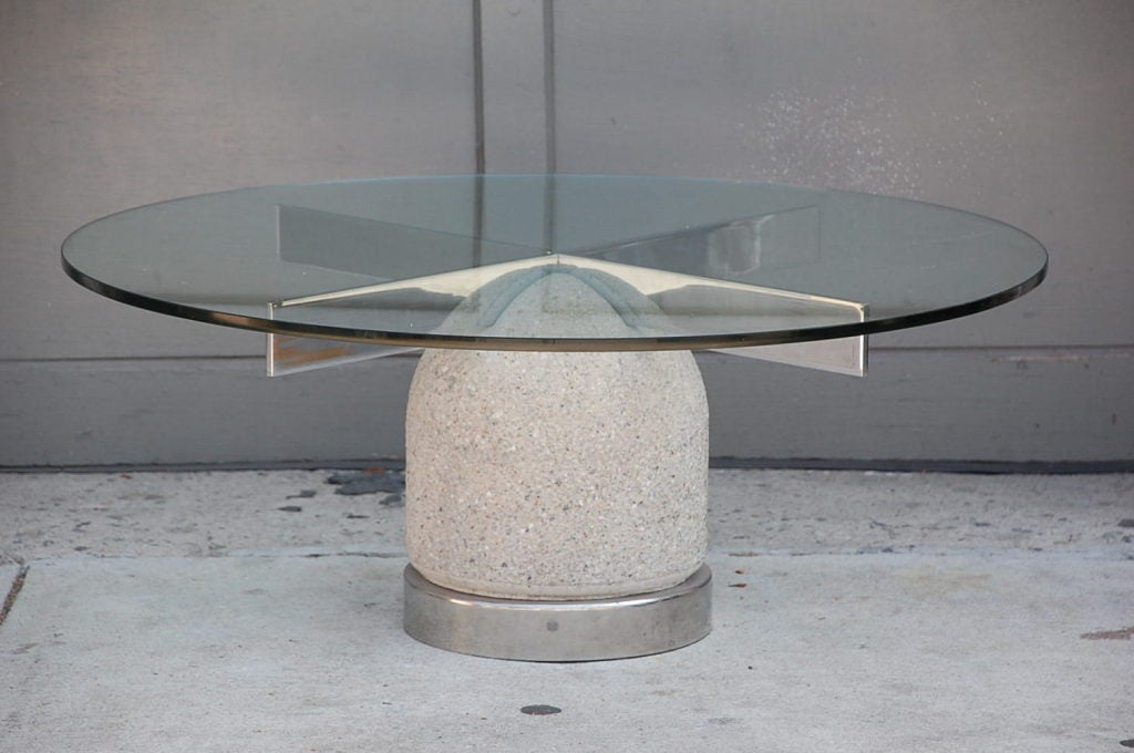 S Concrete Chrome And Glass Coffee Table By Giovanni Offredi At - Concrete and glass coffee table