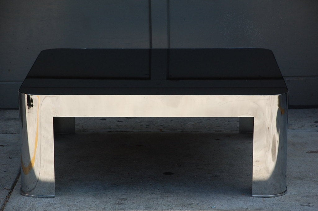 Chrome And Black Opaline Glass Rounded Square Coffee Table At 1stdibs