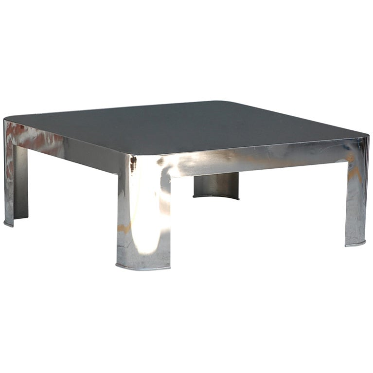 Chrome and black opaline glass rounded square coffee table at 1stdibs Black and chrome coffee table
