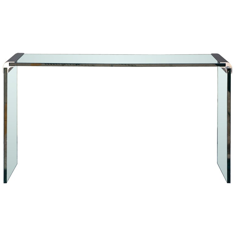 Thick glass and chromed bronze console by Pace