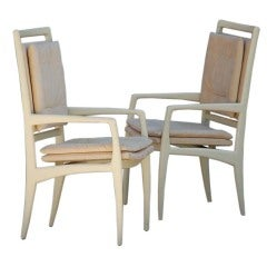Pair of exceptional bone lacquer armchairs by Vladimir Kagan