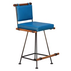 Comfortable Wrought Iron and Oak 50's Swiveling Bar Stool