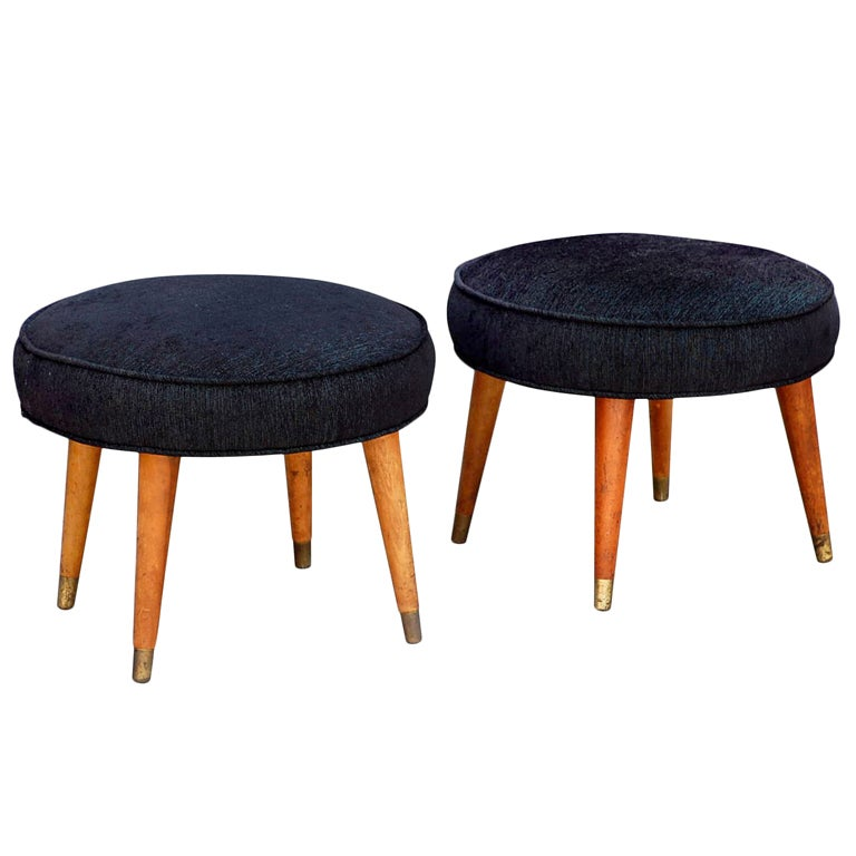 Pair Of Mid Century Low Stools With Brass Sabots At 1stdibs
