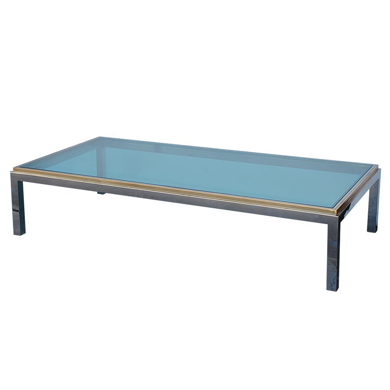 Large Chrome Brass And Glass 70 39 S Coffee Table By Willy Rizzo For