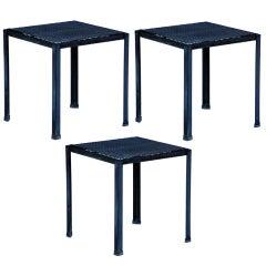 Set of 3 weatherized steel indoor / outdoor side tables
