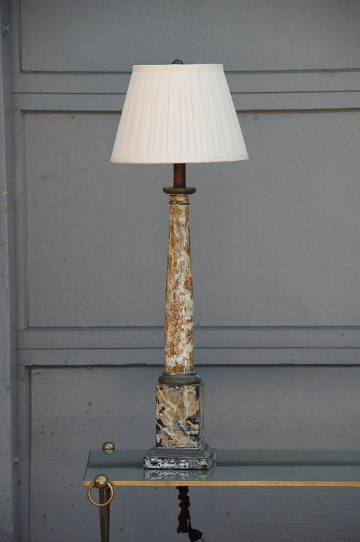 Faux Marble Column Lamp With Custom Pleated Shade For Sale