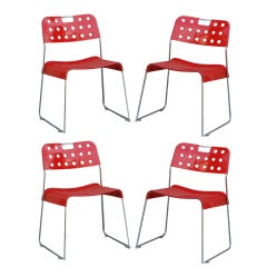 Set of 4 Omstack perforated metal chairs by Rodney Kinsman