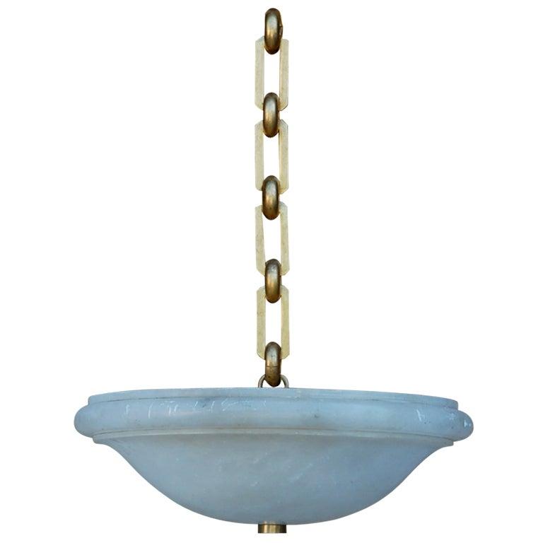 chic alabaster hanging light with bronze chain at 1stdibs. Black Bedroom Furniture Sets. Home Design Ideas