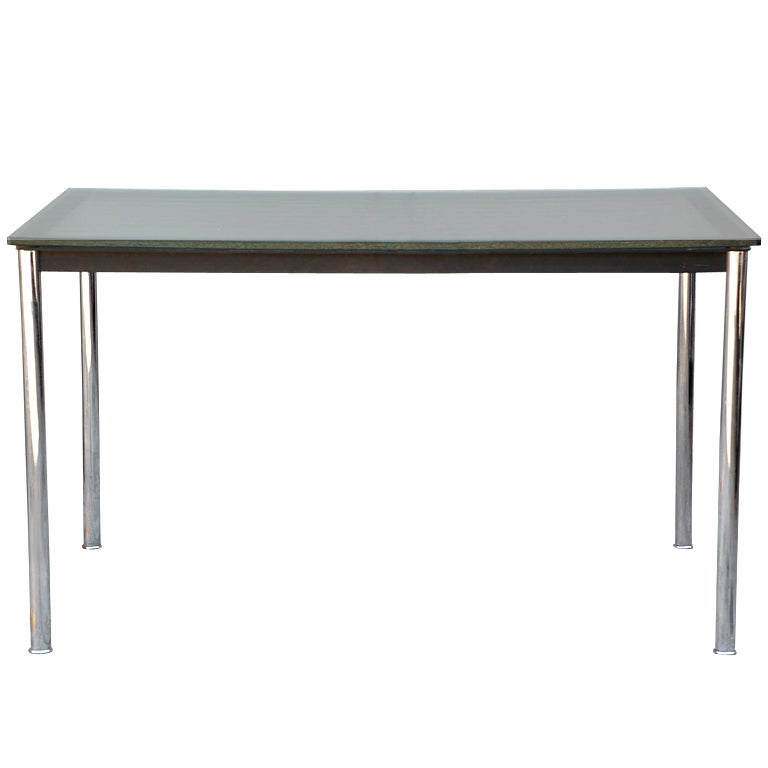 Signed and numbered Le Corbusier Glass Top Desk at 1stdibs