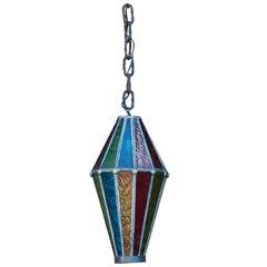 Whimsical Multicolored Glass Lantern