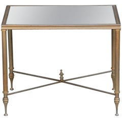 Elegant Gold Side Table with Antique Mirrored Glass