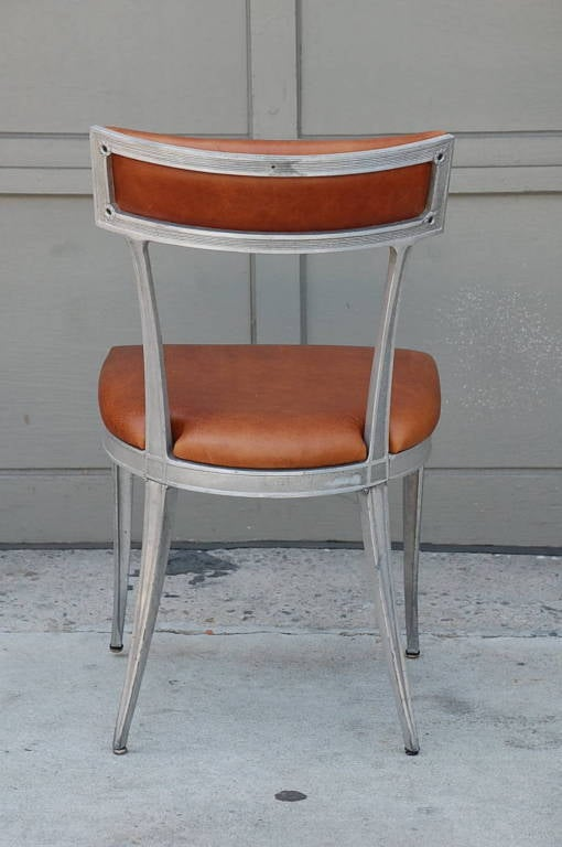 American Set of 4 Neoclassical Aluminum and Brown Leather Dining Chairs For Sale