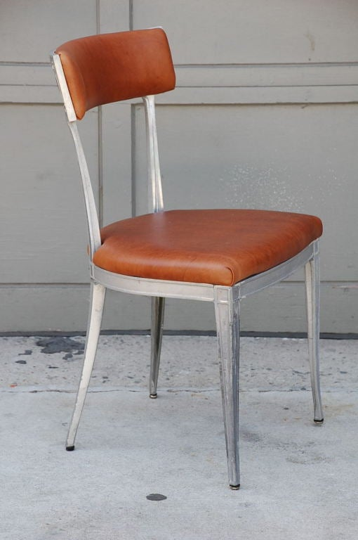 20th Century Set of 4 Neoclassical Aluminum and Brown Leather Dining Chairs For Sale
