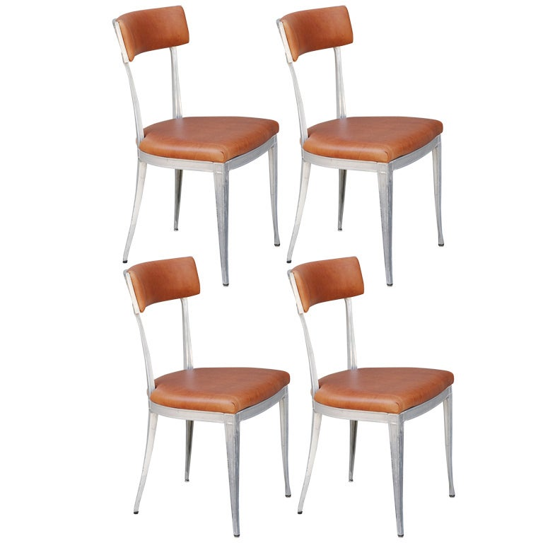 Set of 4 Neoclassical Aluminum and Brown Leather Dining Chairs