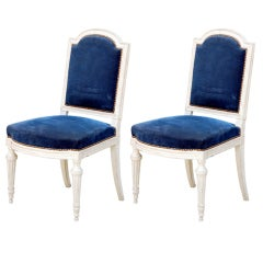 Pair of Large Louis XVI Style Blue Velvet Chairs
