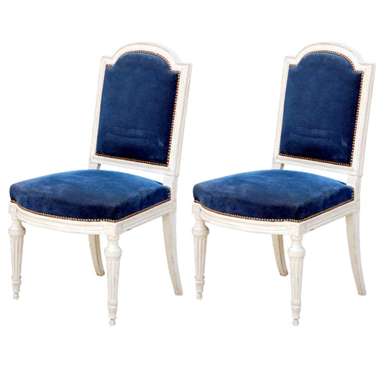 Oversized Dining Room Chairs: Pair Of Large Louis XVI Style Blue Velvet Chairs At 1stdibs