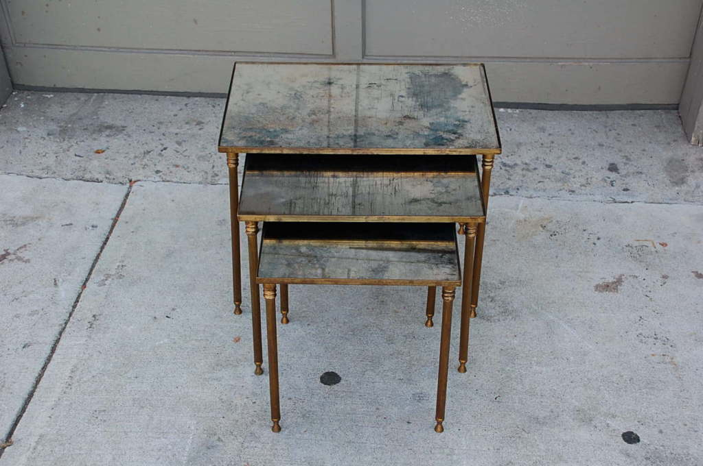 Elegant Set Of Bronze And Antique Mirrored Nesting Tables For 2