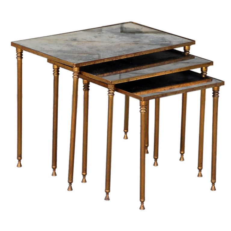 Elegant Set Of Bronze And Antique Mirrored Nesting Tables For