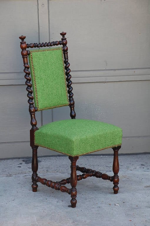 Pair of ornate baroque turned wood chairs. Sturdy.