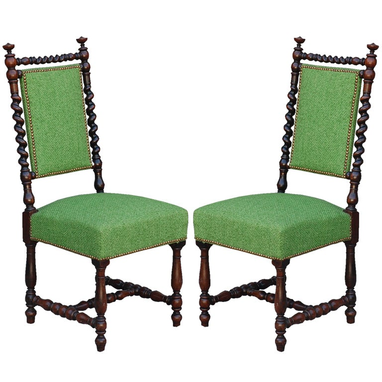 Pair of ornate baroque style turned wood chairs