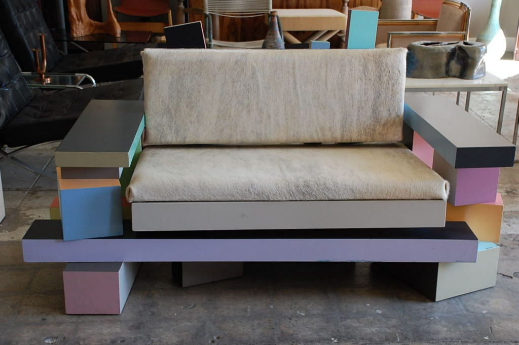 Memphis style settee signed Todd Gray 2