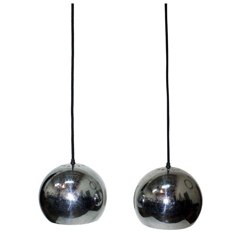 Pair of Chromed Globe French '60s Lights